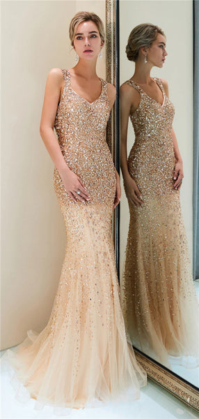 Mermaid Beading See-though Back Long Prom Dresses, PD0784