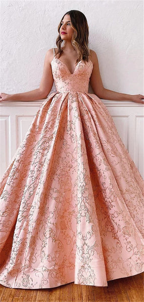 A-line V-neck Lace Appliques Lace-up Back Long Prom Dresses, PD0787
