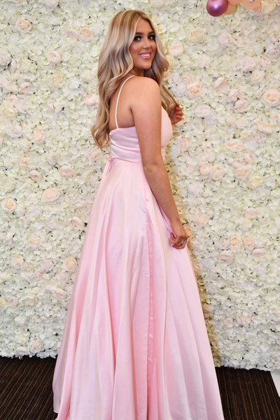 A-line Spaghetti Straps V-neck Pink Long Prom Dresses With Pockets, PD0800