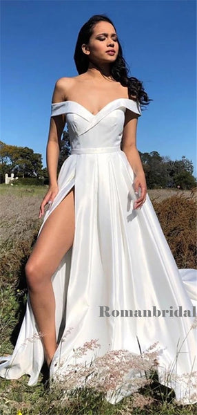 A-line Off-shoulder Long White Prom Dresses With High Split, PD0804