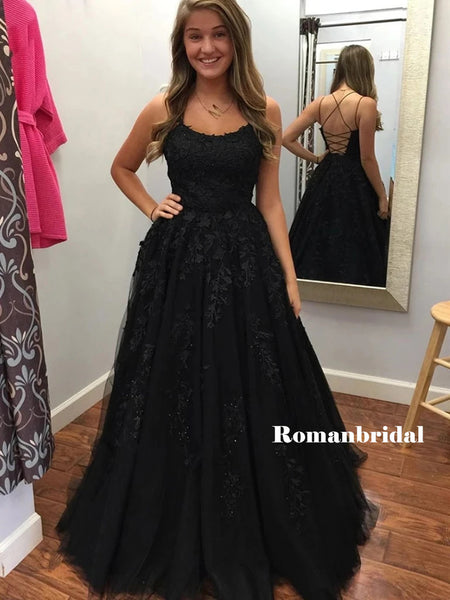 A-line Spaghetti Straps Lace-up Back Lace Beading Black Prom Dresses, PD0806