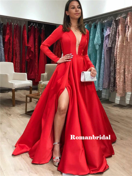 A-line Deep V-neck Long Sleeves Red Prom Dresses With Split, PD0810