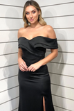 Sheath Off-shoulder Long Black Simple Prom Dresses With Split, PD0811