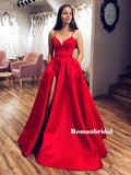 A-line Spaghetti Straps V-neck Long Red Prom Dresses With Split, PD0813