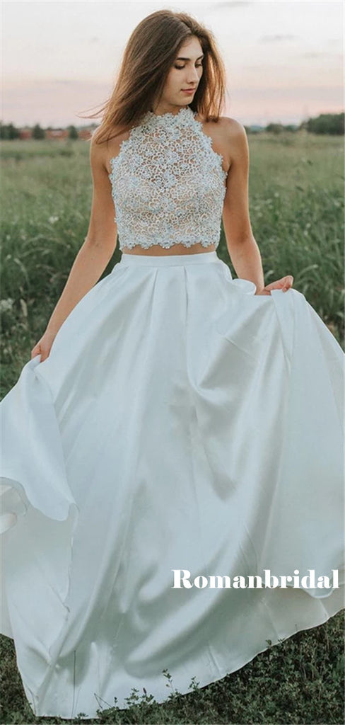 Two-pieces Sleeveless Lace Top Backless Long Prom Dresses, PD0814