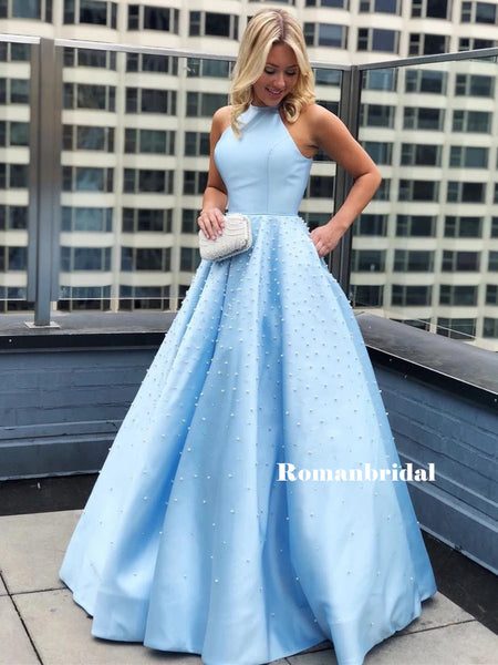 Halter A-line Sleeveless Beading Long Blue Prom Dresses, PD0815