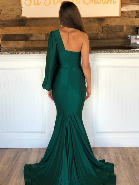Mermaid One-shoulder Long Puff Sleeves Green Prom Dresses, PD0821