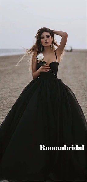 Sweetheart Spaghetti Straps Long Black Simple Prom Dresses, PD0825