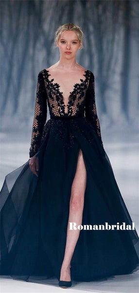 A-line Deep V-neck Long Sleeves Black Lace Tulle Prom Dresses, PD0826