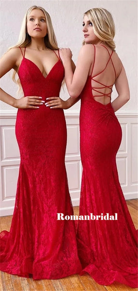 Mermaid Sexy V-neck Lace-up Back Red Lace Prom Dresses, PD0829