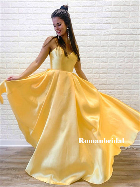 New Arrival Spaghetti Straps V-neck Long Yellow Satin Prom Dresses, PD0830
