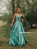 New Arrival Two-pieces V-neck Straps Long Satin Prom Dresses, PD0835