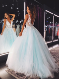 A-line V-neck Appliques Sleeveless Backless Long Tulle Prom Dresses, PD0836
