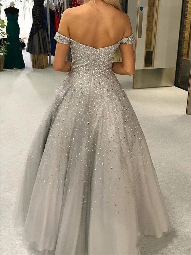 Shiny A-line Off-shoulder Sliver Beading Long Tulle Prom Dresses, PD0842