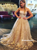 Strapless Sleeveless Lace Appliques Long Tulle Prom Dresses, PD0844
