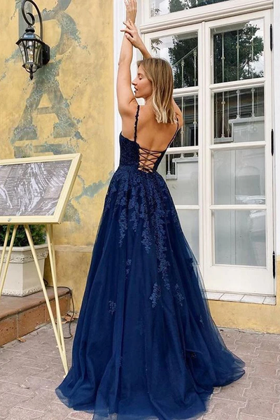 Popular A-line V-neck Appliques Lace-up Back Long Tulle Prom Dresses, PD0847