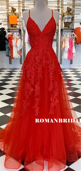 A-line V-neck Red Lace Beading Long Organza Prom Dresses, PD0853