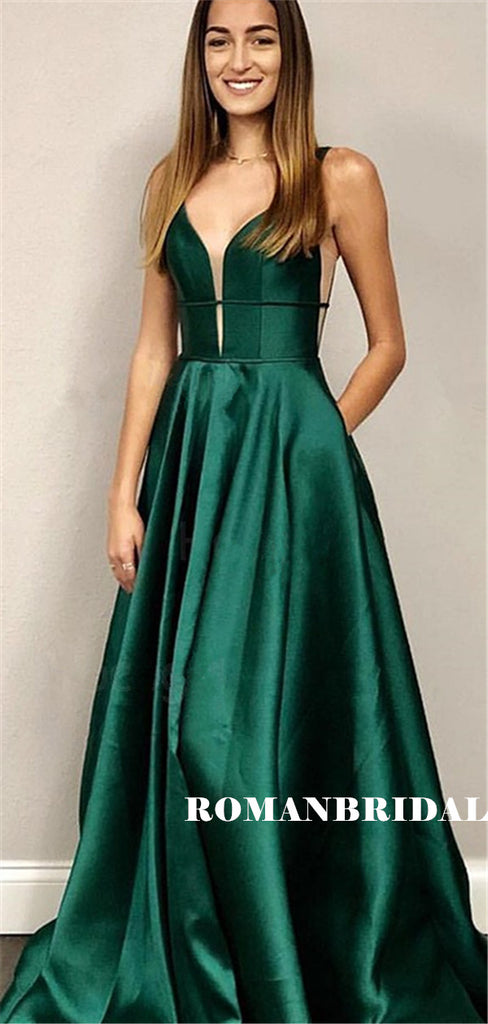 A-line Deep V-neck Sleeveless Backless Green Satin Prom Dresses, PD0854