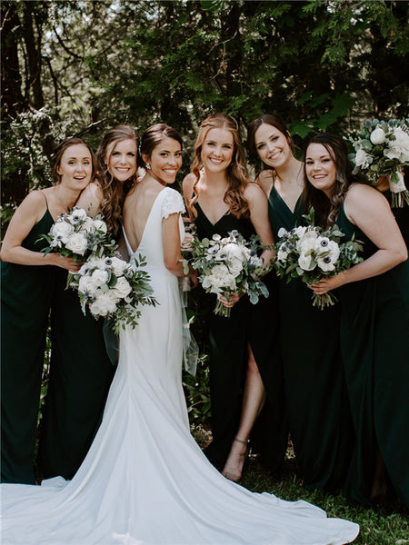 Sheath Spaghetti Straps V-neck Sleeveless Dark Green Bridesmaid Dresses, BD0618