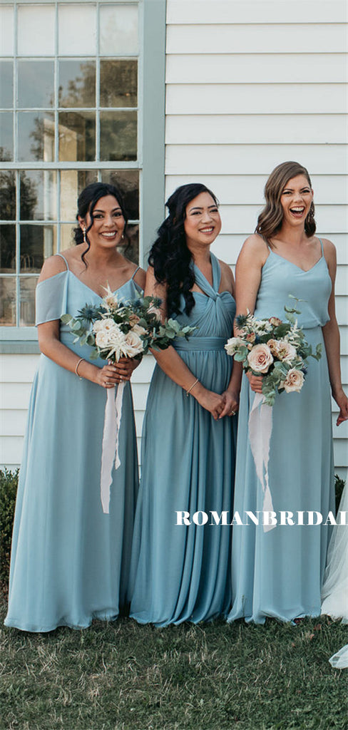 A-line Floor-length V-neck Sleeveless Long Chiffon Bridesmaid Dresses, BD0619