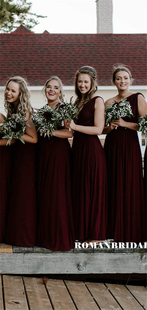 A-line Floor-length V-neck Sleeveless Dark Red Bridesmaid Dresses, BD0620