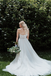 A-line Sweetheart Strapless Lace Top Beading Long Tulle Wedding Dresses, WD0484