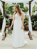 A-line V-neck Appliques Beading Backless Long Chiffon Wedding Dresses, WD0491