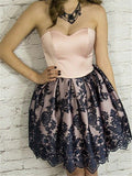 Sweetheart A-line Strapless Lace Applieques Pink Homecoming Dresses, HD0553