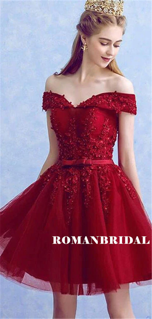 A-line Off-shoulder Burgundy Appliques Beading Tulle Homecoming Dresses, HD0554