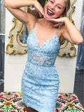 Mermaid Spaghetti Straps V-neck Blue Lace Homecoming Dresses, HD0555