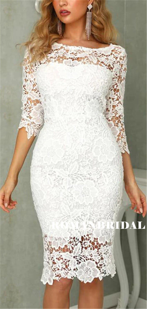 See-though Mermaid Beatu Neck 3/4 Sleeves Lace Homecoming Dresses, HD0557