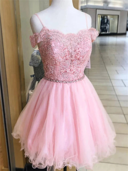 A-line Off-shoulder Lace Appliques Beading Pink Tulle Homecoming Dresses, HD0559