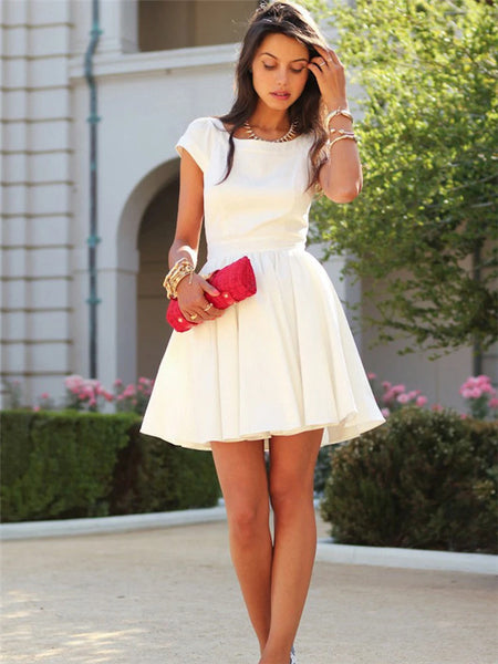 A-line Beteau Neck Short Sleeves Open-back Short White Homecoming Dresses, HD0560