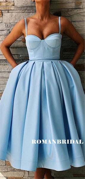 Spaghetti Straps Sweetheart Blue Short Homecoming Dresses With Pockets, HD0561