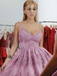A-line Spaghetti Straps V-neck Lace Appliques Beading Homecoming Dresses, HD0562