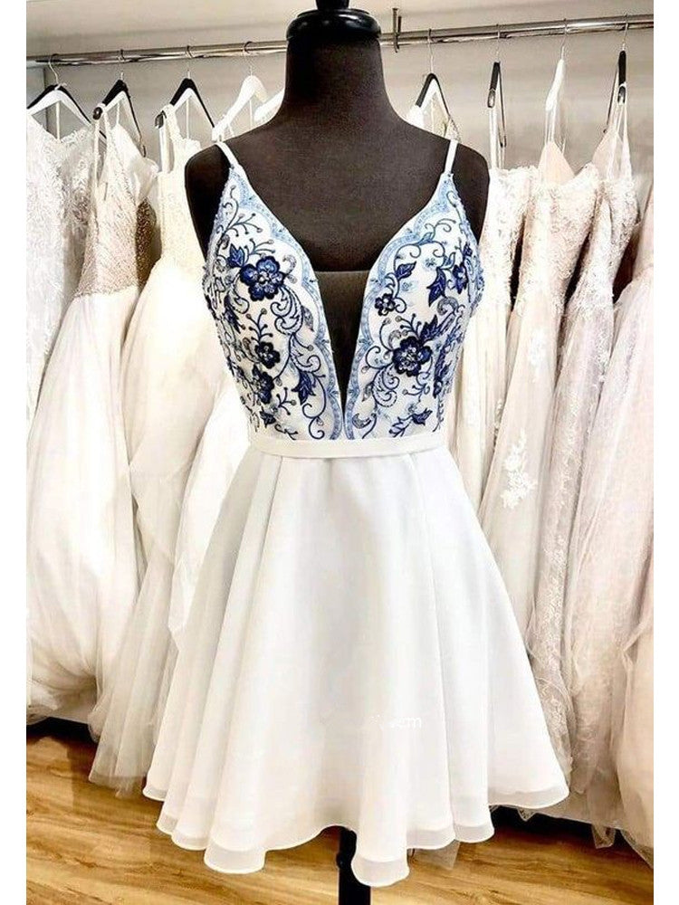 Newest A-line Deep V-neck Spaghetti Straps Embroidery Homecoming Dresses, HD0564
