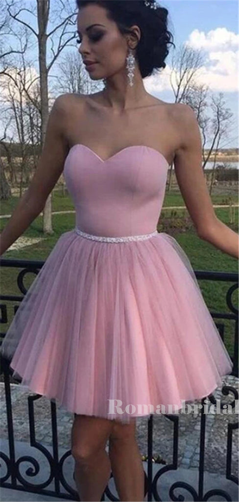 A-line Sweetheart Pink Tulle Short Homecoming Dresses With Belt, HD0566