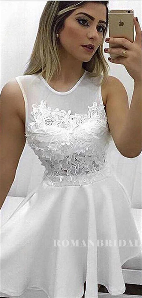 A-line Round Neck Sleeveless Lace Appliques Short Homecoming Dresses, HD0568