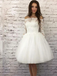 Off-shoulder Half Sleeves Lace Light Ivory Tulle Homecoming Dresses, HD0570