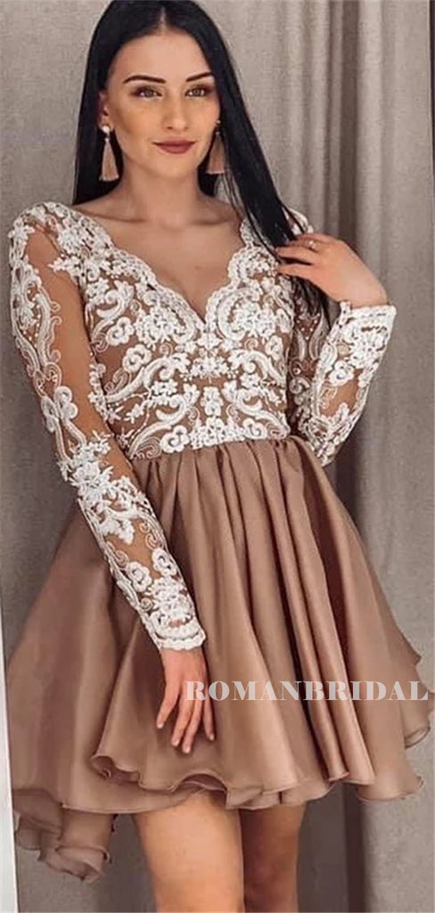A-line V-neck Long Lace Sleeves Short Chiffon Homecoming Dresses, HD0571