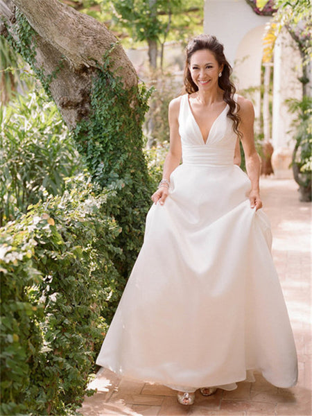 A-line Deep V-neck Sleeveless Simple Backless Long Wedding Dresses, WD0493