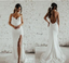 Spaghetti Straps Mermaid Lace Simple Design Long Wedding Dresses, WD0494