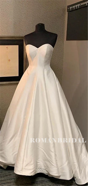 Sweetheart Strapless A-line Satin Wedding Dresses With Train, WD0495