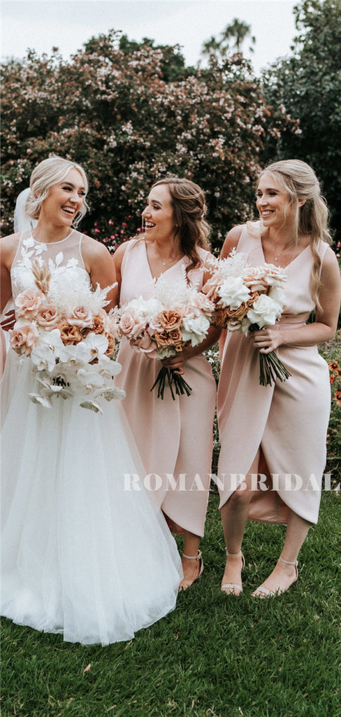 Sheath V-neck Sleeves Simple Short Bridesmaid Dresses With Split, BD0625