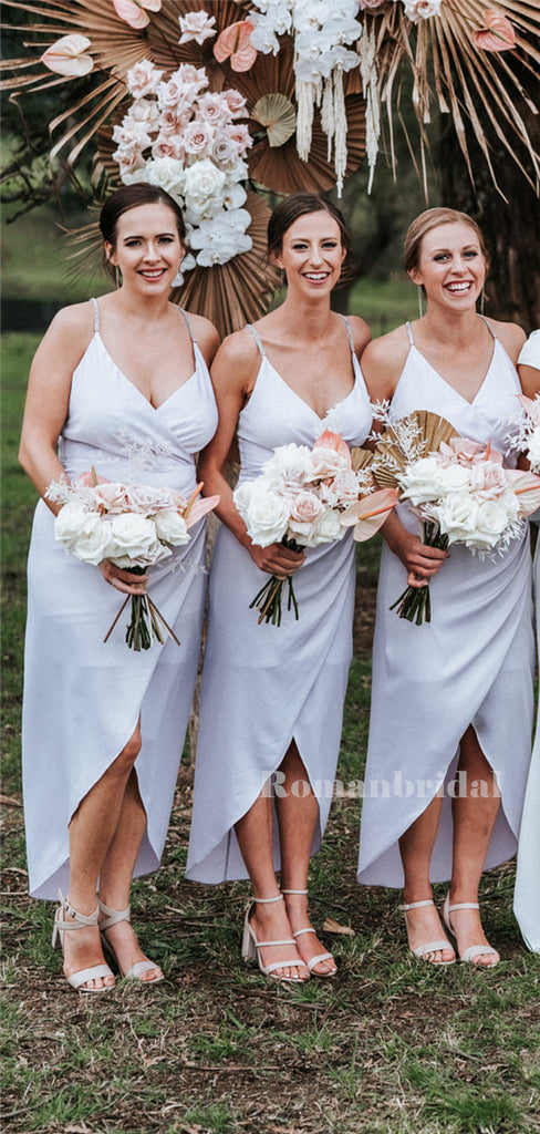 Sheath Spaghetti Straps V-neck Pleats Bridesmaid Dresses With Pleats, BD0631