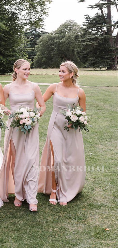 A-line Spaghetti Straps Scoop Neck Bridesmaid Dresses With Split, BD0634