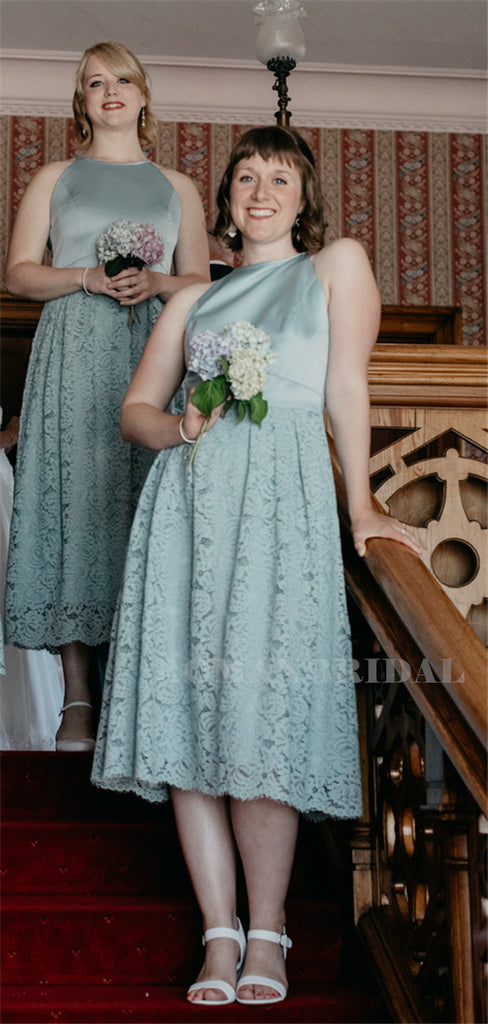A-line Halter Sleeveless Lace Short Bridesmaid Dresses, BD0636