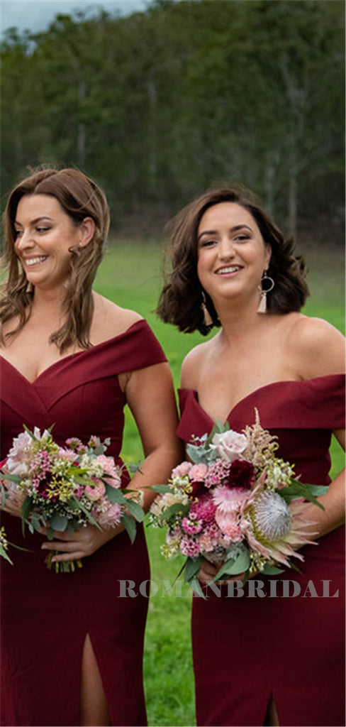 Mermaid Off-shoulder Long Burgundy Bridesmaid Dresses With Split, BD0638