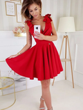 A-line V-neck Red Sleeveless Belt Homecoming Dresses With Ruffles, HD0574