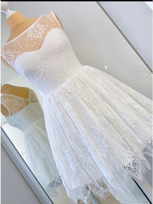 A-line Illusion Sleeveless Lace Homecoming Dresses, HD0579